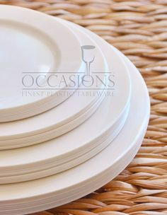 OCCASIONS   Wedding Party Plastic Disposable Bone / Ivory or White Plates & Masterpiece Premium Plastic Heavyweight Plates Combo Pack (48 ct ...