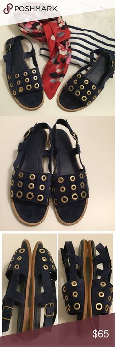 J CREW Sandals Sz 9 EUC. Worn only a couple of times this summer. Blue suede and leather lining. Adjustable side buckle. J. Crew Shoes Sandals