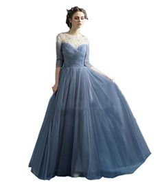 Ikerenwedding Women's Ruffles Rhinestones Tulle Long Prom Dress Formal Ball Gown Blue US08 Ikerenwedding http://www.amazon.com/dp/B011MPVYIS/ref=cm_sw_r_pi_dp_uYBPvb1RS8NS7