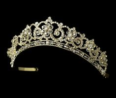 Gold Plated Crystal and Rhinestone Tiara for Quinceanera, Wedding or  Prom