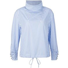 J.W. Anderson Striped Drawstring Blouse (€660) ❤ liked on Polyvore featuring tops, blouses, white, white cotton tops, white cotton blouse, striped blouse, cotton blouses and stripe top
