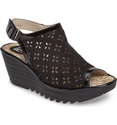 Main Image - Fly London Ybel Open Toe Platform Wedge (Women)