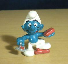 Bricklayer Smurf Stone Mason Construction Vintage Smurfs Figure HK 20148 2 0148   eBay