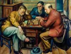 Chess Players by Roland Vivian Pitchforth      Date painted: 1928     Oil on canvas, 85 x 111 cm