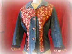 Upcycled Repurposed Denim Jean Jacket SZ PXL by TwoCottageChicks, $40.00. It's coming up roses.
