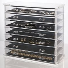 Deluxe 7-drawer Jewelry Chest or Cosmetic Organizer with Removable Drawers and L