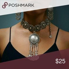 Silver Coin Choker Set Silver Retro Choker Set with Earrings Jewelry Necklaces
