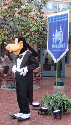Goofy, looking snazzy in his tuxedo, to celebrate the Disneyland Diamond Celebration (Disney California Adventure / Disneyland) Walt Disney, Disney Love, Disney Parks, Disney Pixar, Disney Stuff, Paris France, Disneyland 60th, Disney World Characters, Tokyo