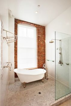 bathroom, brick, tub and shower Franklin Street Loft by Jane Kim Design