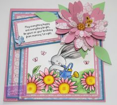 Carole Davis for Crafter's Companion- Square Card - Bebunni Floral Stamps - Flower Garden - Spectrum Noir Pens: Bebunni  IG1, 2, 4, 6, PP1; Flowers PP1, 2, 5, CT 1, 3, 4, OR1; Leaves LG1, 2, 3, 5; Watering Can TB2, 4, CT1, 3 - From CD Design Set 12/5, Co-ordinating Paper 8/2 - Neenah Solar White - Satin Finish Paper - Die'sire Leaf 1, Stamen, Sunflower Quilling Die Large and Small - Bebunni Floral Collection Dies  Butterfly and Bee