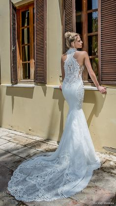 michal medina 2017 bridal sleeveless halter neck keyhole heavily embellished bodice elegant fit and flare wedding dress covered lace back chapel train (renee) bv -- Michal Medina 2017 Wedding Dresses Mermaid Dresses, Bridal Dresses, Wedding Gowns, Lace Wedding, 2017 Bridal, 2017 Wedding, Most Beautiful Wedding Dresses, Fit And Flare Wedding Dress, Bridal Collection
