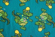 Jersey lustiges Krokodil Kroko petrol gelb Kinderstoff Meterware  Krokodile