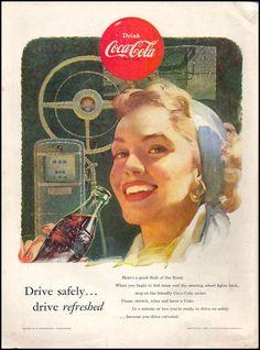Coca-Cola Coca Cola Cooler, Coca Cola Ad, Always Coca Cola, World Of Coca Cola, Coca Cola Bottles, Coca Cola Vintage, Vintage Advertisements, Vintage Ads, Vintage Posters