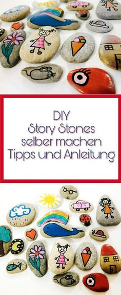 Story Stones - Make narrative stones yourself with instructions and .- Story Stones – Erzählsteine selber machen mit Anleitung und Bildern A great idea to paint stones. Simply make narrative stones yourself. Ideas and guidance for story stones. Make Your Own Story, Make Your Own Makeup, Story Stones, Rock Crafts, Diy And Crafts, Paper Crafts, Kid Crafts, Diys, Health Pictures