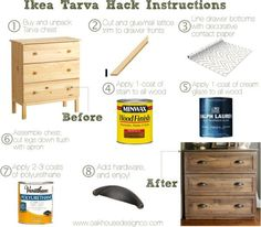 Stained dresser. DIY Instructions for Ikea Tarva Hack. Just add trim and…