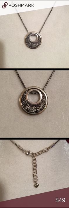"""Brighton pendant Silver medallion, signature Brighton style. 16"""" - 18"""" adjustable chain with cute heart fastener. Excellent condition. Pendant measures approximately 1.25"""" in diameter. Brighton Jewelry Necklaces"""