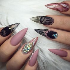 12 unique trending nail art designs for Hot nail right nail now in fashion. Stiletto nails, rainbow almond nails, Ombre rounded nail art designs for summer. New Year's Nails, Great Nails, Simple Nails, Nails 2016, Matte Stiletto Nails, Matte Acrylic Nails, Simple Nail Art Designs, Easy Nail Art, Nail Designs
