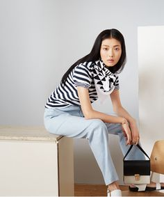 Striped Shirt : Modern Basics: 17 Effortlessly Cool (And Classic!) Wardrobe Staples  A nice mix of stripe and print.