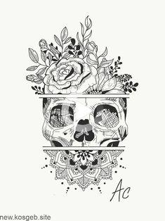 Create a Tattoo Idea … Skull … Flowers … Mandala insta: amylquise_drawings … - Tattoos Kunst Tattoos, Body Art Tattoos, Tatoos, Floral Skull Tattoos, Sleeve Tattoos, Tribal Tattoos, Pretty Skull Tattoos, Skull Thigh Tattoos, Skull Tattoo Flowers