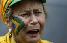 Pin for Later: People Who Are Sadder About the Brazil vs. Germany Game Than You Are This Woman With Face Paint