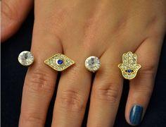 anel triplo de olho grego - bijoux