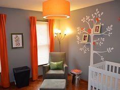 Baby boy nursery; Love tthe tree shelf and the colors!