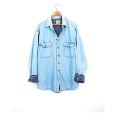 Vintage Jean Shirt Plaid Lined Denim Shirt Long Sleeve Work Shirt... ($34) ❤ liked on Polyvore featuring tops, blue shirt, denim shirts, oversized flannel shirt, oversized long sleeve shirts and flannel shirts