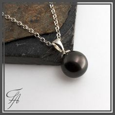 Saltwater Pearl,Black Tahitian,Pearl Necklace,Tahitian Pearl,Saltwater Pearl Charm,Pearl Pendant,Sterling Silver,Handmade Pendant,Gift by FutureArtJewelry on Etsy