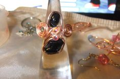 copper and black onyx  ring   size 9 by honeypiezz2 on Etsy, $12.00