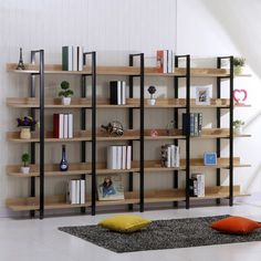 Image result for wood and iron shelves
