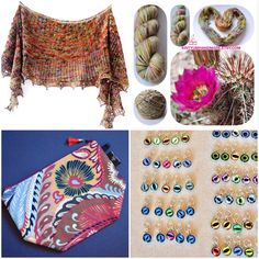Pre-order Sandbloom Shawl Collaboration Kit Limited Edition - Cactus Flower - stitch markers - project bag - hand dyed yarn - shawl pattern Etsy KrityumHandmade