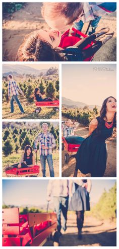 Spruce up your holiday photos with cute props - like this red wagon!