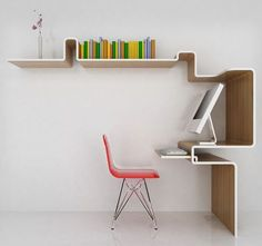 Looks like a single piece of material mounted to a wall to provide a workspace, storage and overhead shelving with the aesthetic fluidity of a noodle.