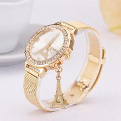 40a2386357d Leegor Women Ladies Luxury Diamond Insert Paris Tower Mesh Band Elegant  Wrist Watch Life Waterproof
