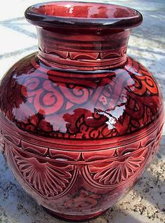 Carved and hand painted Moroccan pottery vase