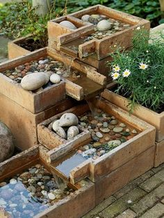 Pavers, bricks, concrete, and planters are all great materials to put to use in ways other than they were created for. It's like building blocks for adults! Nothing is more rewarding than creating the perfect waterfall for your garden that nobody else will have. #outdoorideasforadults