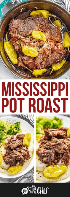 Mississippi Pot Roast is moist, flavorful, and requires just a handful of simple ingredients. We've included instructions for the oven, slow cooker, and instant pot to make this as quick and easy as possible! Slow Cooker Roast, Slow Cooker Recipes, Crockpot Recipes, Cooking Recipes, Crockpot Meat, Slow Cooking, Pork Recipes, Fruit Dishes, Beef Dishes