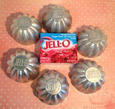 6 JELLO Molds, Vintage 1950's Aluminum Tin Scalloped JELL-O Molds Perfect for Jello, Ice Cream, Pudding, etc.