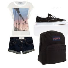 QUICK outfit for school by happyswanson on Polyvore featuring Wildfox, Abercrombie & Fitch and JanSport