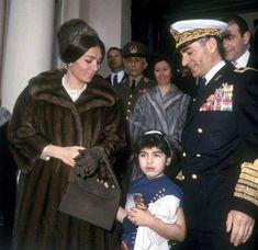 Mohammad Reza Shah Pahlavi, Queen Farah Pahlavi and Little Princess Mahnaz Zahedi