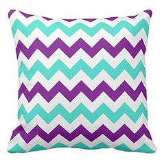Personalized 18X18 Inch Square Cotton Pillowcases Turquoise And Purple Zigzag…