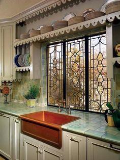 Fixtures flush mount, nice vintage green ultra flat tile, and terrific sink color.  Leaded windows total bonus