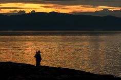 Night by the fjord by Knut Trondsen on Norway, Past, Sunset, Mountains, Landscape, Night, Awesome, Pictures, Photography