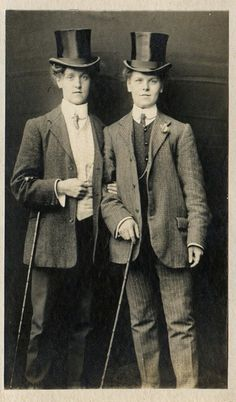 Women in menswear (perhaps a part of the LGBT community, or just for fun), late 19th century