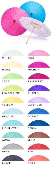 Paper parasol $7.95 each, lots of colors!