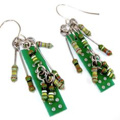 Geek Jewelry -- Earrings with Computer Circuit Boards and Electronic Resistors - $26