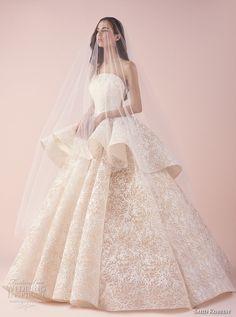 saiid kobeisy 2018 bridal strapless straight across neckline full embellishment peplum romantic princess blush color ball gown wedding dress (3262) mv -- Saiid Kobeisy 2018 Wedding Dresses
