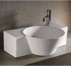 Isabella rectangular wall mount basin with integrated round bowl, single faucet hole and center drain