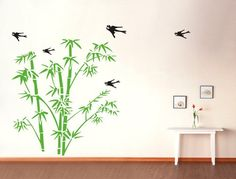 Wall Decal Bamboo Birds Vinyl Decals Wall Decor Home Decor Wall Sticker Wall Art 40149