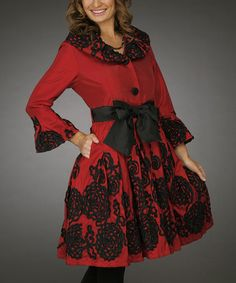 Red & Black Soutache Belted Coat - Women & Plus by Jerry T Fashion #zulily #zulilyfinds